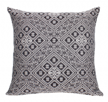 Moroccan Cushion Pillow Handmade Square Black  Authentic Fez Embroidered Brocade 55 cm x 55 cm